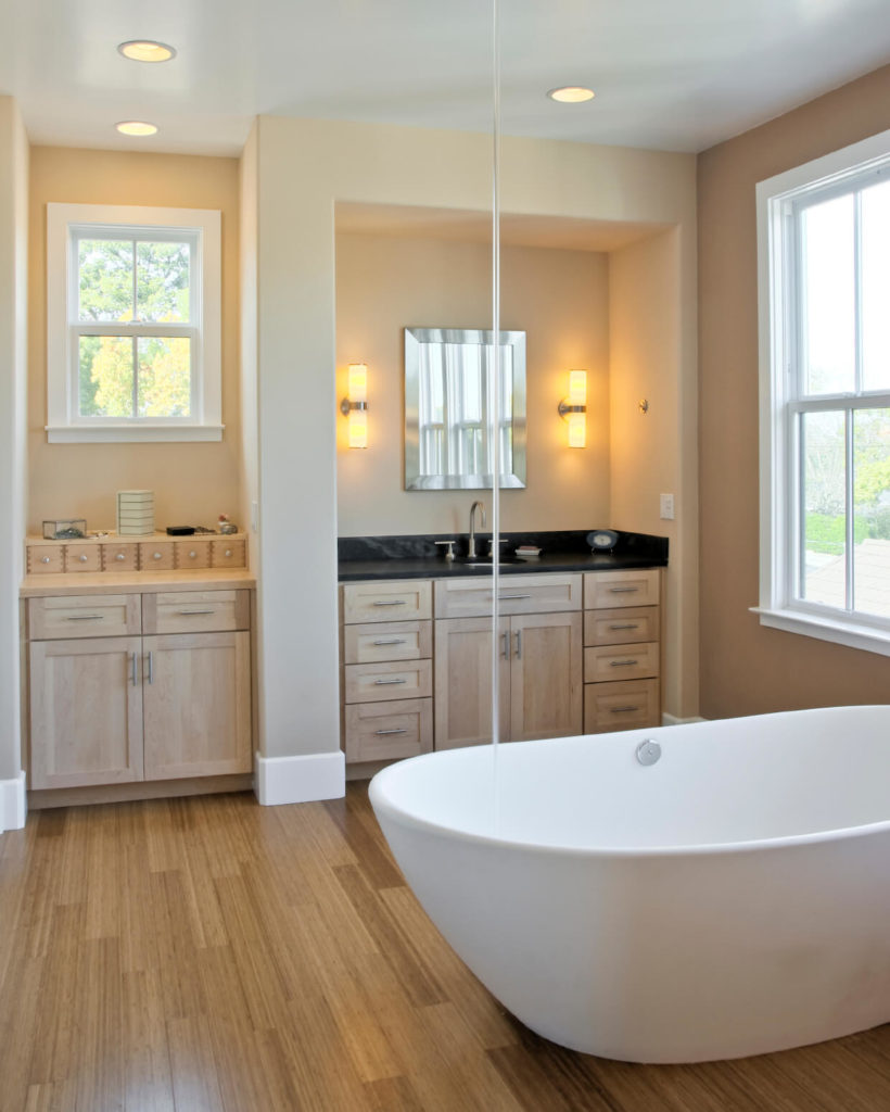 26 master bathrooms with wood floors pictures for Wood floor bathroom