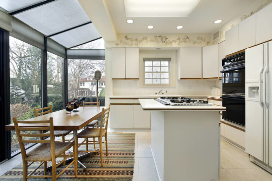 In a kitchen already well-lit by a wraparound set of glazing, creating a