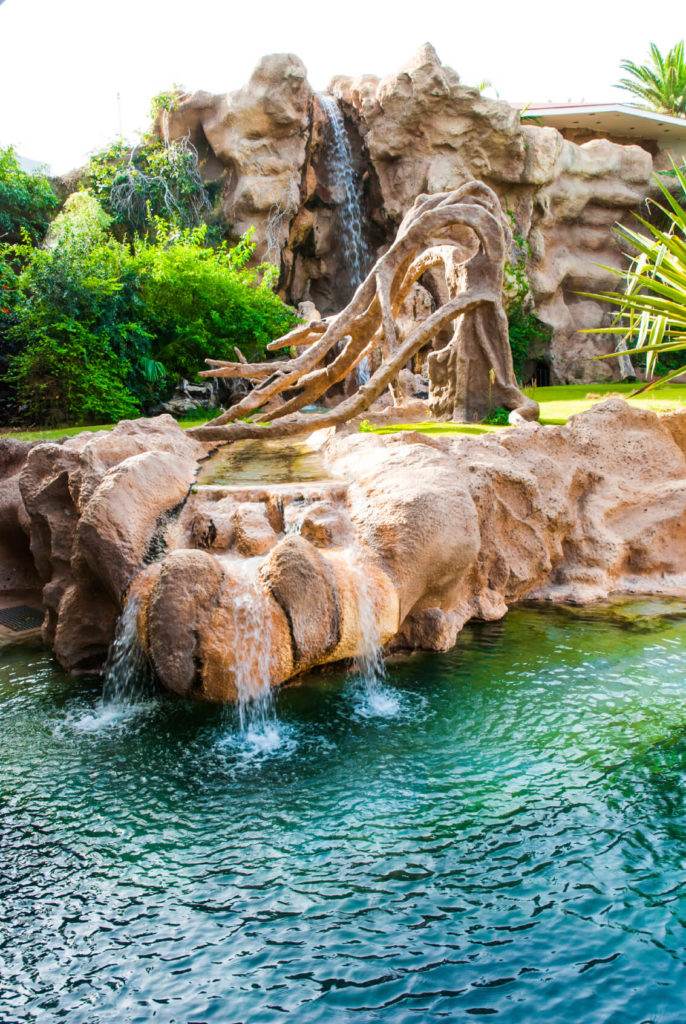 "A resort's swimming pool with an artificial rocky outcropping with a fake tree and water trickling down most faces of the stone from a ""stream."""