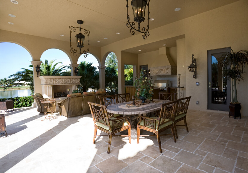 Lovely This Incredibly Spacious Covered Patio Features A Small Outdoor Kitchen, A  Large Formal Dining Table