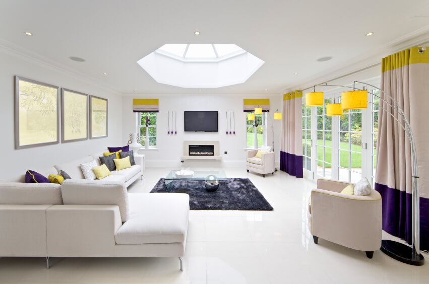 This Charming Living Room Features An Octagonal Skylight That Illuminates  The Center Of This Space.