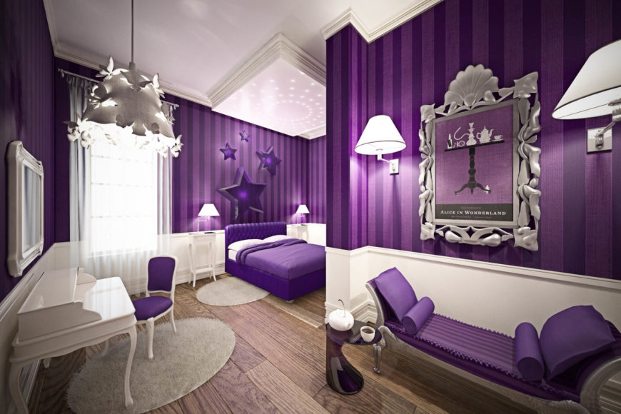 This kids' bedroom features a bright purple motif, with chaise lounge, Parson chair, and bedding matching the striped wallpaper. The mixture of pristine white, purple, and hardwood flooring creates a unique contrast.