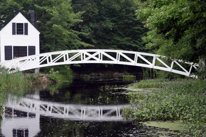 This incredible white footbridge bridges an enormous gap with no supports in the center. The
