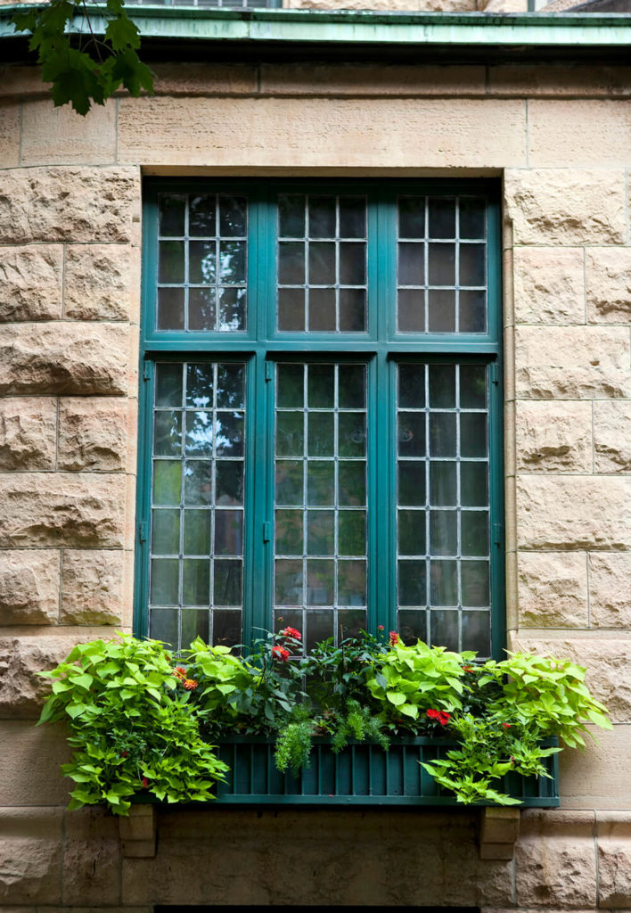 The stone face of this building is interrupted by a set of windows and a green-blue window box filled with mostly greens. The mix of shades and textures adds depth to this arrangement.
