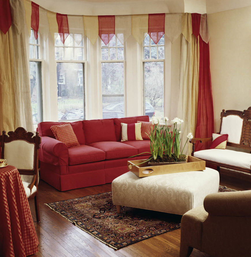 contemporary living room curtains. The festive cream and light red valance adds a whimsical air to this  otherwise simple 53 Living Rooms with Curtains Drapes Eclectic Variety