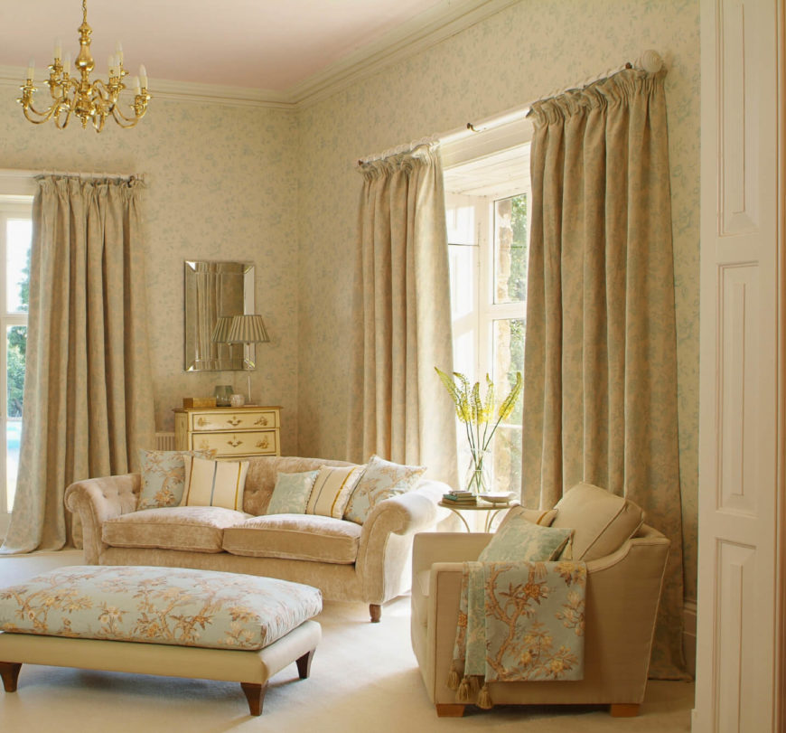 53 living rooms with curtains and drapes eclectic variety for Gold wallpaper living room