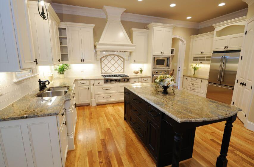 Rustic Kitchen, Spacious Antique White Kitchen Cabinets Design Using Wooden Material And White Countertop photo - 4