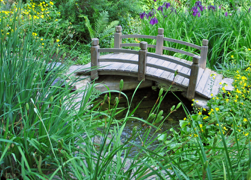 Wooden bridges add a quaint feeling to any garden, regardless of whether or not they are needed to cross a stream.