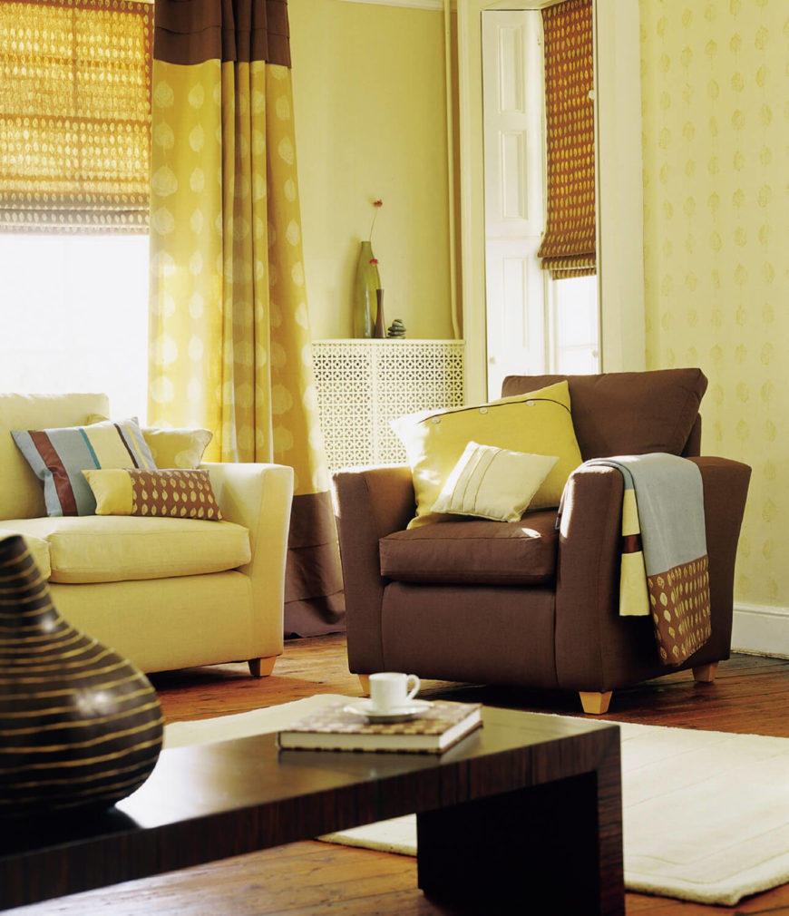 a simple leaf motif on the green and chocolate brown curtains echoes the matching motif on