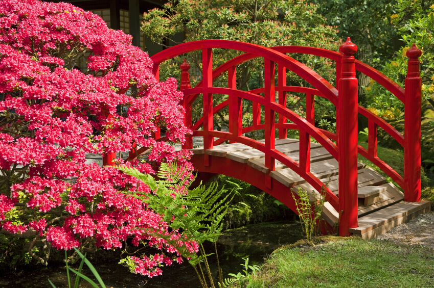 there are no signs of weathering on this gorgeous red arched bridge even more stunning - Red Japanese Garden Bridge