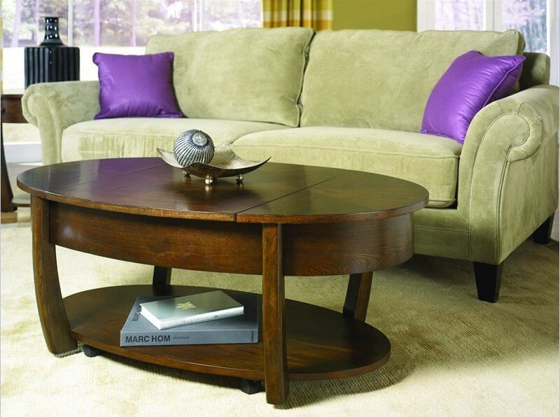 20 top wooden oval coffee tables for Dark wood lift top coffee table