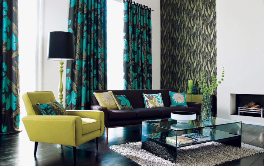 Superb Another Instance Of Bold Floral Curtains That Match Accents In A Modern Living  Room.