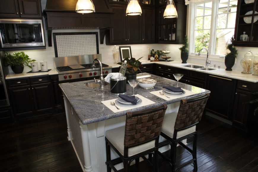34 kitchens with dark wood floors pictures for Dark wood cabinets with dark countertops