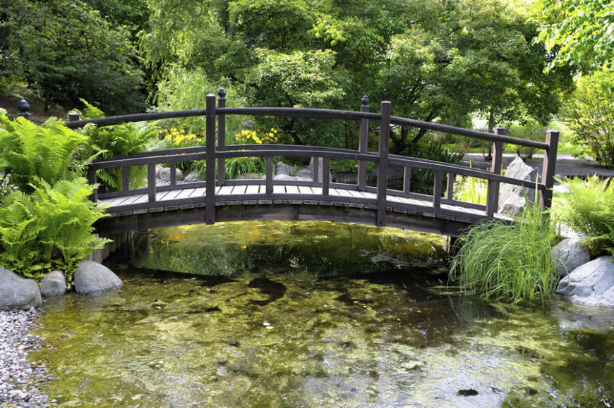 Many of these garden bridges span an algae-filled pond, and this one is no different. Ferns on either side frame the walkway.