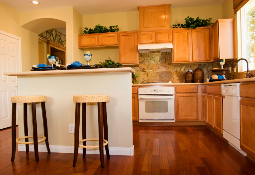 light oak cabinets with dark wood floors 34 kitchens with wood floors pictures 376