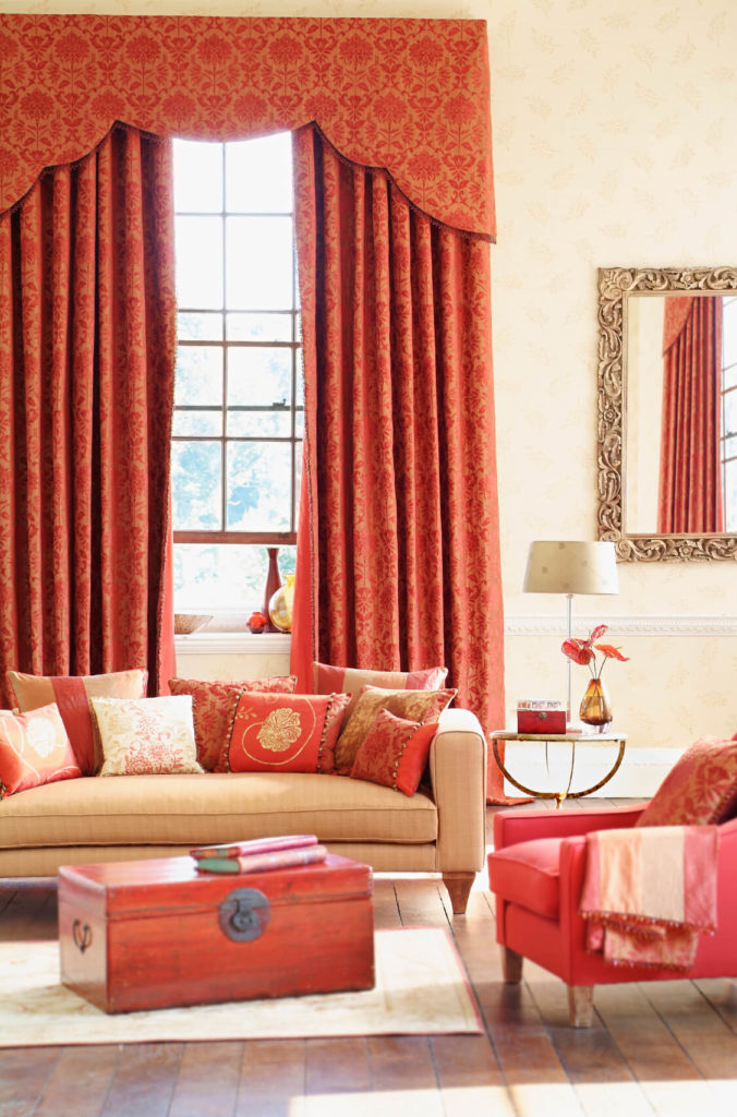 High Quality Red Damask Curtains Complement Salmon Pink In In The Furniture. A Gilded  Mirror Adds To
