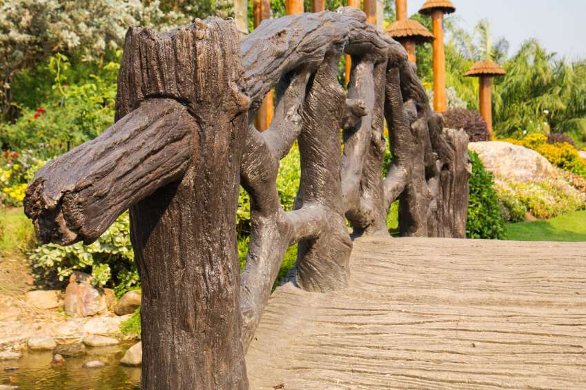 Carved wooden bridges are remarkable and unique, particularly ones like this, where each line and crevice is visible.