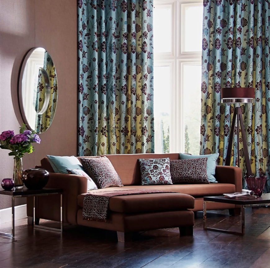 53 living rooms with curtains and drapes eclectic variety What color compliments brown furniture