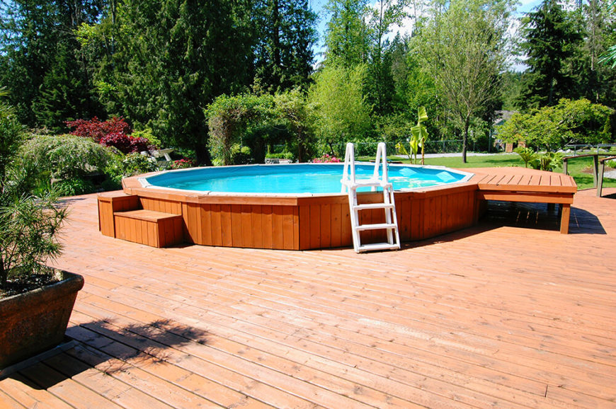 Here We Have An Expansive Light Natural Wood Deck Centered On