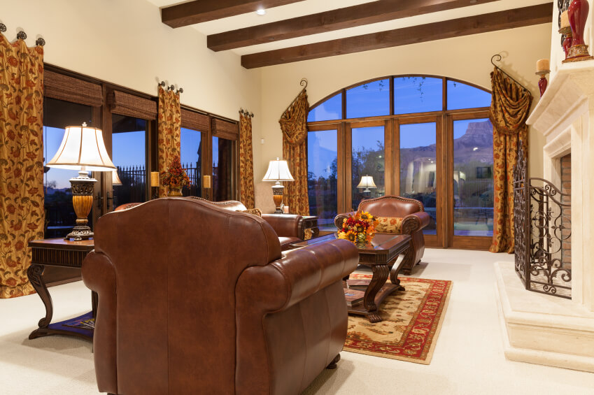 This Living Room Has An Unique Set Of Curtains With The Rods Held At A 53 Rooms And Drapes Eclectic Variety