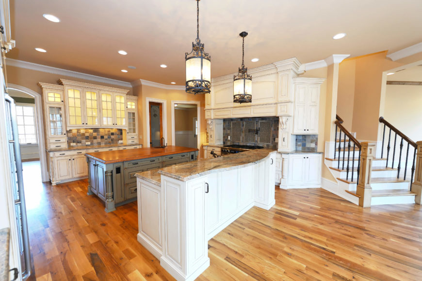 32 spectacular white kitchens with honey and light wood for White hardwood floors design ideas