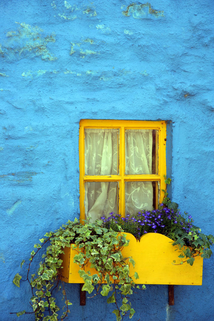 32 stunning flower box ideas arrangements a canary yellow curved window box affixed to the bold blue plaster facade small purple mightylinksfo