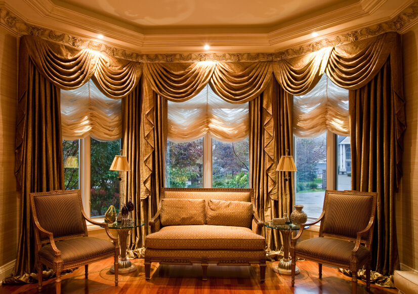 This Incredibly Luxurious And Ornate Living Room Has Equally Ornate Drapes.  The Shades Are Also