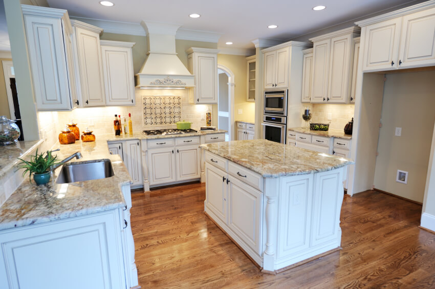 32 spectacular white kitchens with honey and light wood for White kitchen cabinets with hardwood floors
