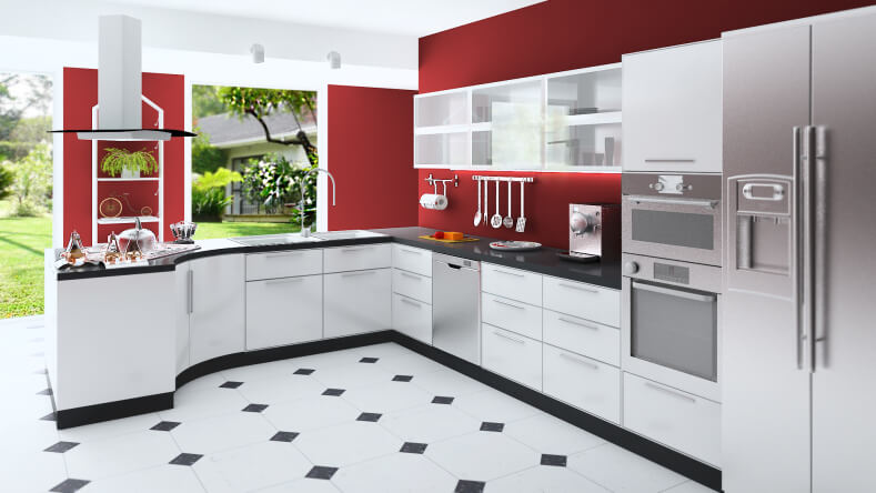 Here's another mockup, featuring a kitchen in black and white, set against bold red walls. Sleek white cabinetry is framed by black countertops, with stainless steel appliances for light contrast and visual pizzazz.
