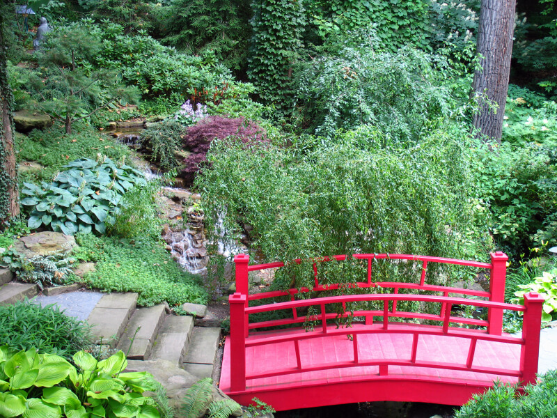 High Quality Another Traditional Chinese Red Bridge Connecting Two Sets Of Concrete Path  Through A Very Naturally  Awesome Ideas