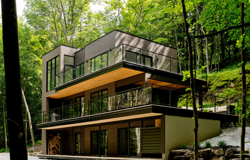 Naturally modern lake champlain chalet by boom town for Modern chalet house plans