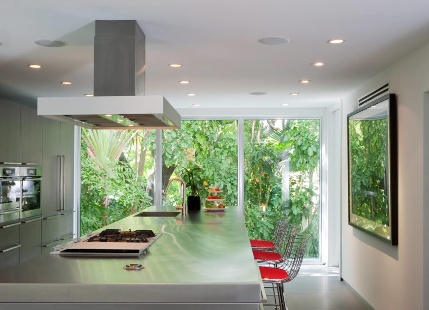 The kitchen stands apart with sleek stainless steel throughout, including the massive island at center. Island features built-in sink, range, and space for dining, with red-accented wireframe bar stools for seating. The lush greenery surrounding the home fills the visual space, courtesy of full height glazing.