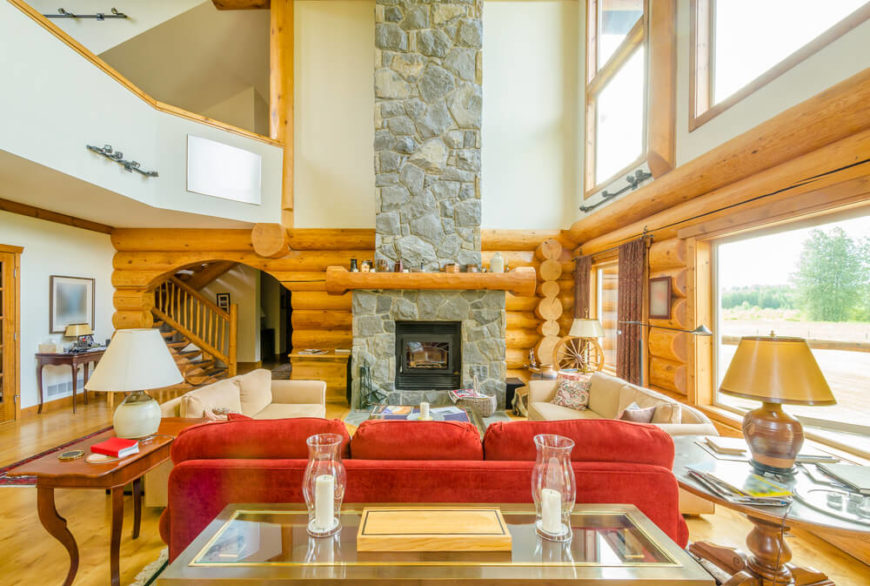Living Room With Stone Fireplace Modernized Cabin Enormous Wooden