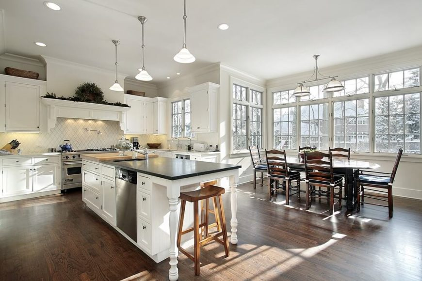 Beautiful White Kitchen With Plenty Of Natural Light.