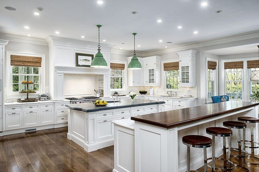 These Great English Styled Windows In This Fantastic Kitchen Are Paired  With Bamboo Woven Shades.