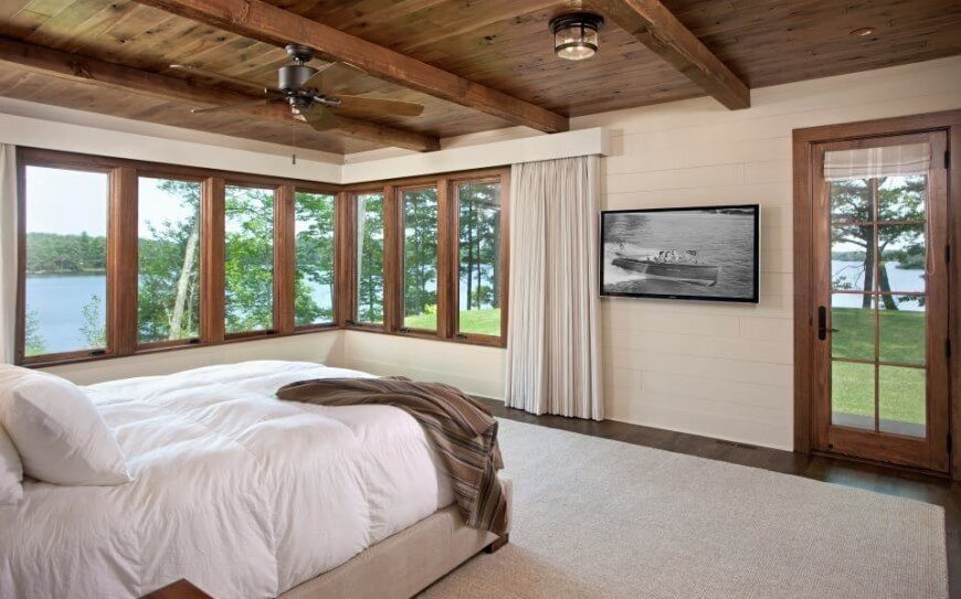 ceiling fans for bedrooms. Horizontal running wooden panelling is painted a light cream to offset the  dark wood floors 30 Glorious Bedrooms with Ceiling Fan