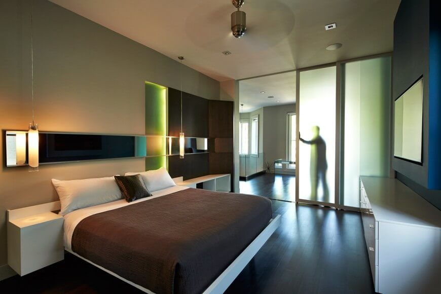 A Much More Modern Master Bedroom With Frosted Glass Sliding Doors  Separating The Private Bedroom From