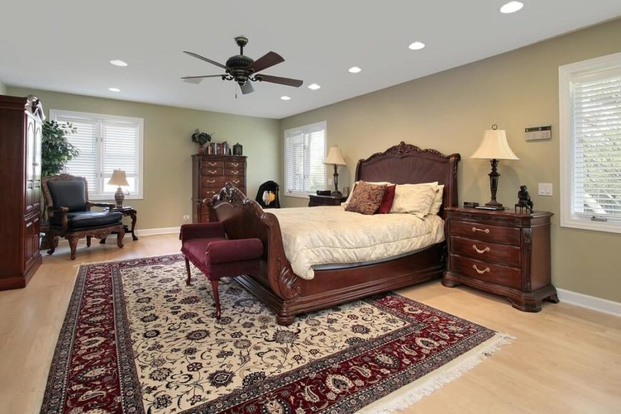 ceiling fans for bedrooms. The ornate carving on the all wood sleigh bed sets tone for this elegant 30 Glorious Bedrooms with a Ceiling Fan