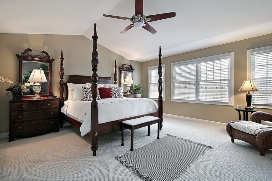the ceiling of this master bedroom is arched at the center and slopes to flat above - Bedroom Ceiling Fans