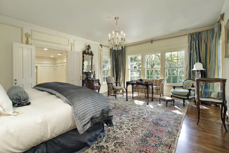 Bon An Ornate Master Bedroom Suite With A Traditionally Patterned Rug And A  Large Seating Area Near