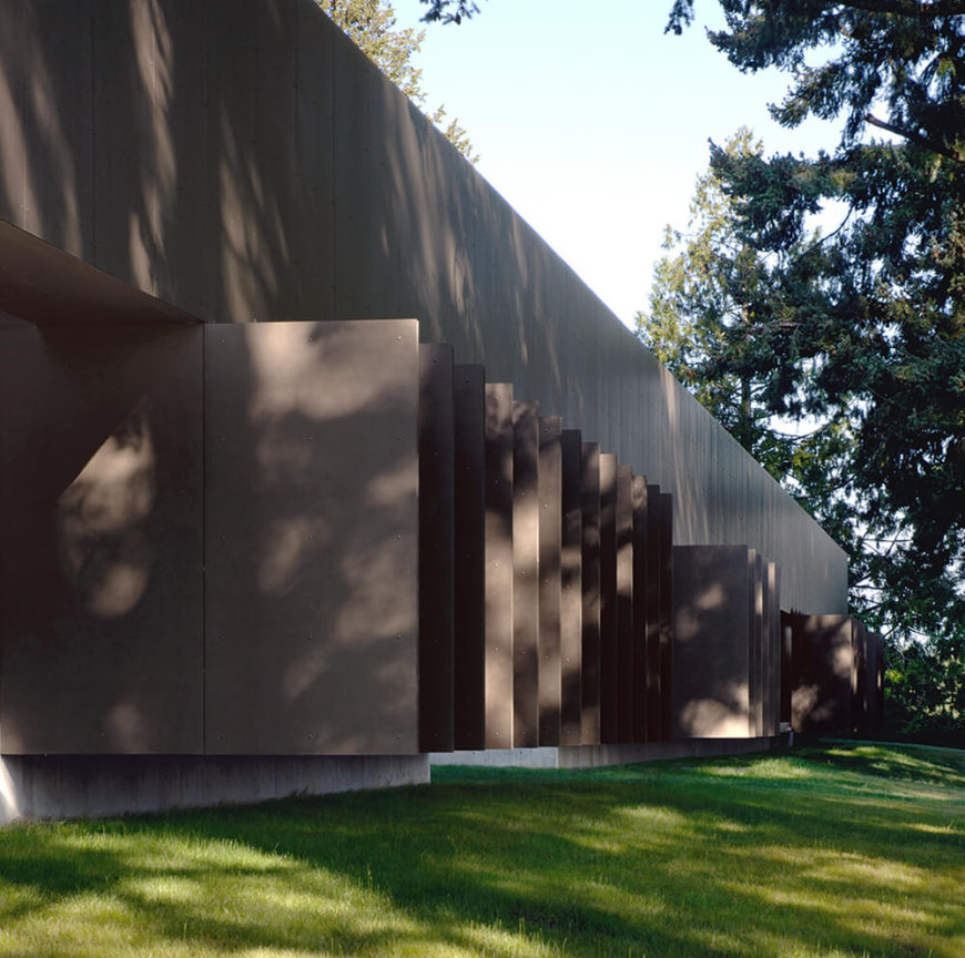 Here's a close look at the dramatic louvers covering the side of the home. These offer highly specific angles of sunlight and views, further granting privacy and a customized look.
