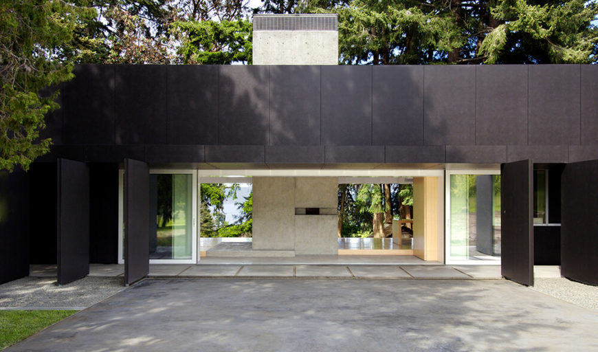 Pulling back to the exterior once again, we see straight through the home, courtesy of retractible panels and an utterly open-plan design that favors the nebulous space between indoors and out.