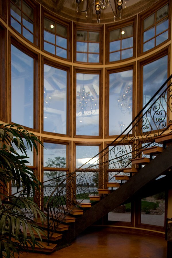 Staircase Tower Style : Grand contemporary mediterranean style home on the lake