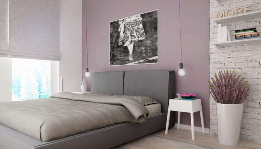 The master bedroom features the largest realization of the pink counterpoint hue, with an entire wall establishing the color in between swaths of white.