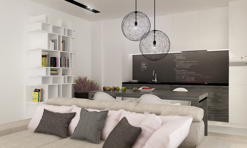 Against the large beige sofa on a set of pillows, we see the first appearance of the cotton candy pink tones that punctuate the neutral, cool interior style.
