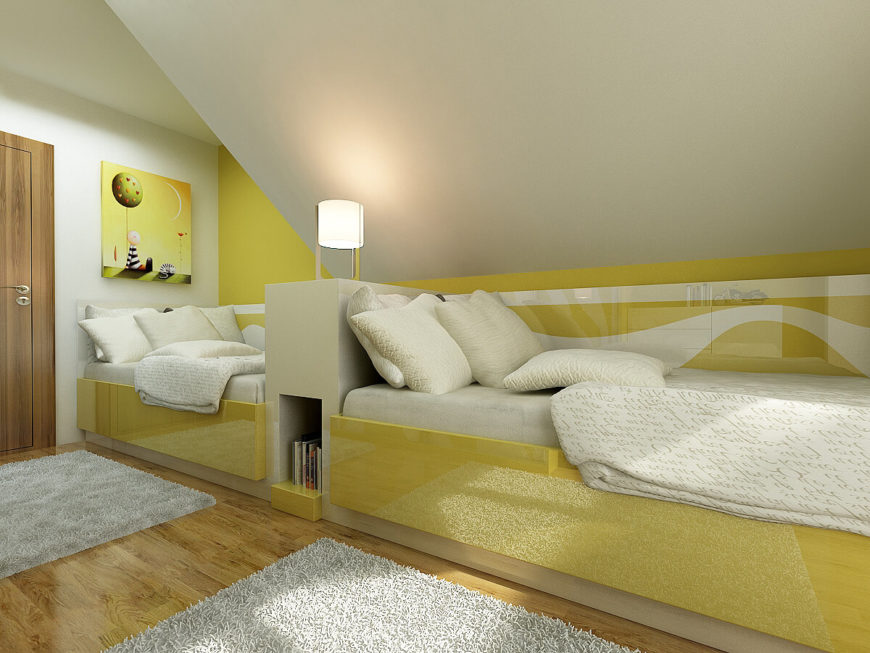 The bright yellow accents of the children's room is an unexpected change from the rest of the house while still adhering to the level of design expected of it. High-gloss finish on the bed frames and walls help to brighten the small space even more