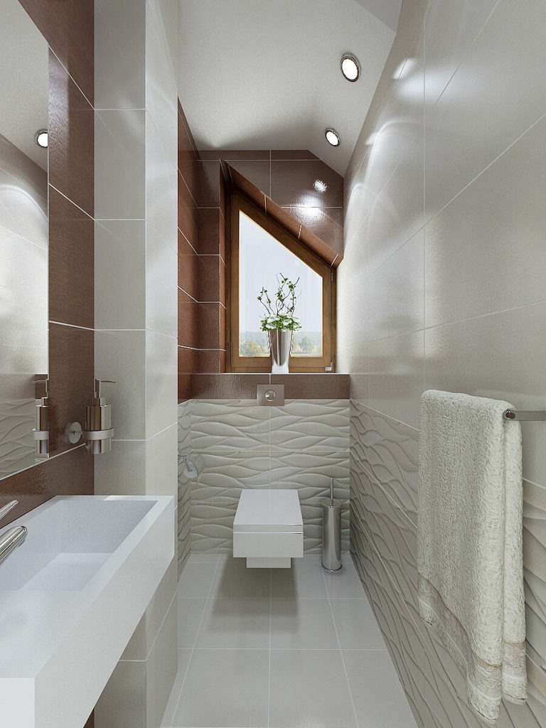 The second bathroom contains a toilet and sink. Textured red-brown tile matches the colors used in the master bedroom and bathroom wood accents.