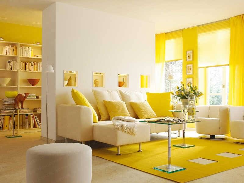 21 gorgeous living rooms with accent walls of all styles pictures this beautiful modern and minimalist living room is in pristine white and bright sunny yellow sciox Choice Image