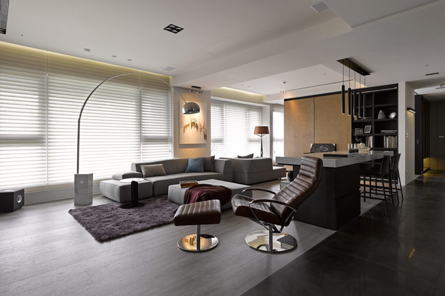 Unique ultra-modern home interior sports a mixture of neutral tones and spikes of color.
