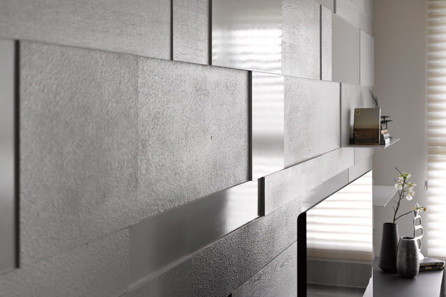 Here's a very close up view of that detailed living room wall, highlighting the interplay between glossy and rough textured squares, and the subtle depth at play.